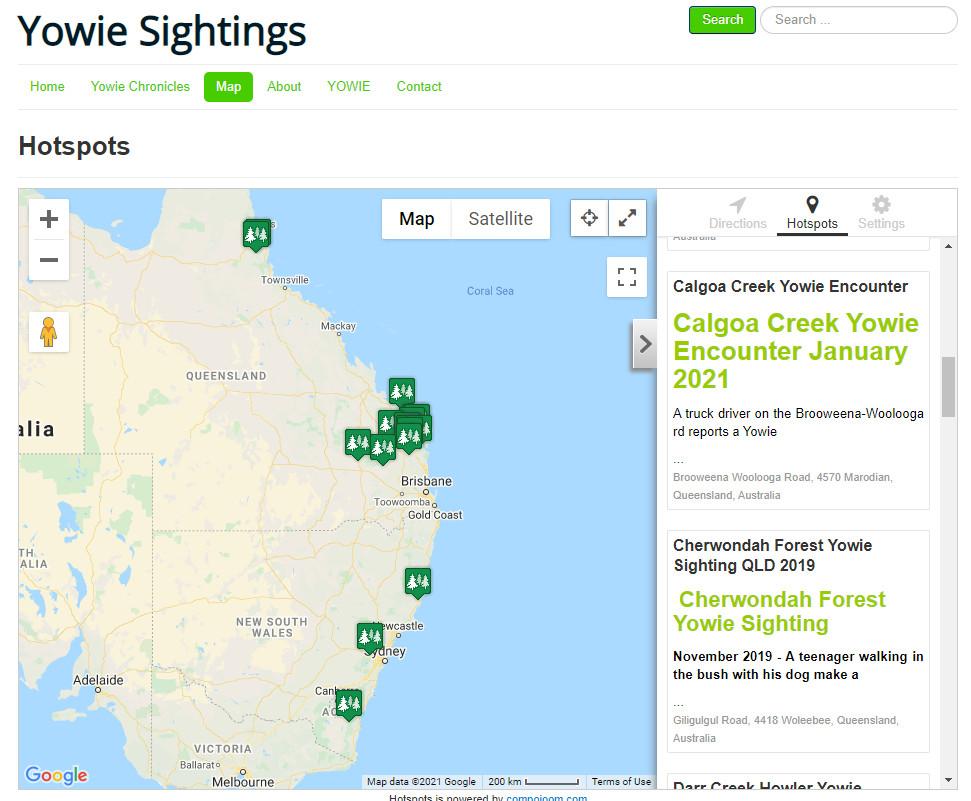Yowie sightings map
