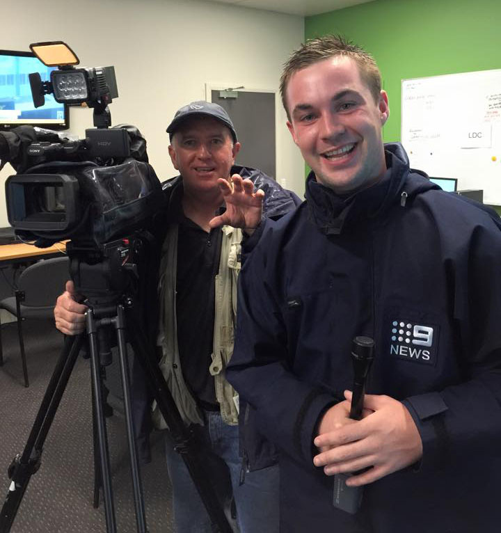 Cameraman John Wilson on the job for Nine news Brisbane